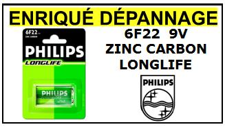 6F22 PHILIPS LONGLIFE 9V ZINC CARBON
