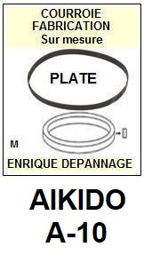 AIKIDO A10 A-10 <br>Courroie d\'entrainement pour Tourne-disques (<b>flat belt</b>)<small> 2016-01</small>