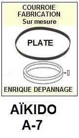 AIKIDO A7 A-7 <br>Courroie plate d'entrainement tourne-disques (<b>flat belt</b>)<small> 2017-01</small>
