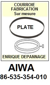 AIWA 86535354010 86-535-354-010 <br>courroie plate référence aiwa (<B>flat belt manufacturer number</B>)<small> mars-2017</small>