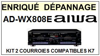 AIWA ADWX808E AD-WX808E kit 2 Courroies Compatibles Platine K7 13-06