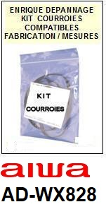 AIWA<br> ADWX828 AD-WX828 kit 4 courroies (belts) pour platine K7  <br><small>a 2014-11</small>