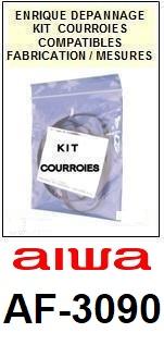 AIWA AF3090 AF-3090 <BR>kit 3 courroies pour platine k7 (<b>set belts</b>)<small> 2016-10</small>
