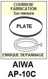 AIWA AP10C AP-10C <br>Courroie plate d'entrainement tourne-disques (<b>flat belt</b>)<small> 2017-01</small>