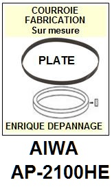 AIWA AP2100HE AP-2100HE <br>Courroie plate d'entrainement tourne-disques (<b>flat belt</b>)<small> 2017-01</small>
