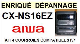 AIWA <br>Platine CXNS16EZ CX-NS16EZ kit 4 Courroies K7 (belts) <br><small>a 2014-11</small>