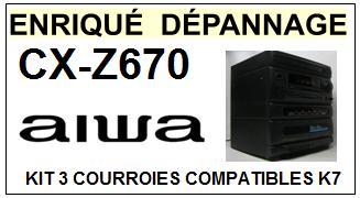 AIWA CXZ760 CX-Z760 kit 3 Courroies Compatibles Platine K7