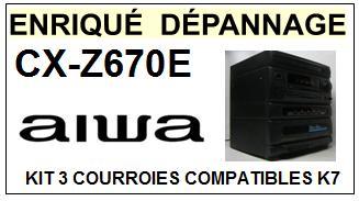 AIWA CXZ760E CX-Z760E kit 3 Courroies Compatibles Platine K7