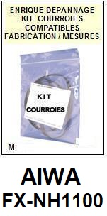 AIWA<br> FXNH1100 FX-NH1100 kit 5 courroies (set belts) pour platine K7 <br><small>a 2015-04</small>