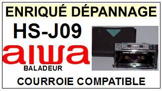 AIWA<br> HSJ09 HS-J09 Courroie (square belt) pour baladeur walkman k7 <br><small> 2015-07</small>