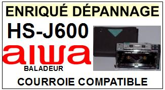 AIWA<br> HSJ600 HS-J600 Courroie (square belt) pour baladeur walkman k7 <br><small> 2015-07</small>