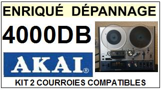 AKAI<BR> 4000DB  kit 2 courroies (set belts) pour magnétophone<small> 2015-09</small>