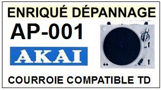 AKAI AP001 AP-001 <br>Courroie d'entrainement pour tourne-disques (<b>flat belt</b>)<small> 2016-01</small>