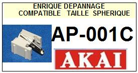 AKAI AP001C AP-001C <br>Pointe sphérique pour tourne-disques (<b>sphérical stylus</b>)<small> 2016-01</small>