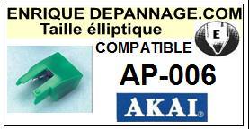 AKAI<br> AP006 AP-006 Pointe (stylus) elliptique pour tourne-disques <BR><small>se 2015-08</small>