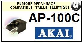 AKAI AP100C AP-100C <br>Pointe diamant elliptique pour tourne-disques (stylus)<small> 2015-11</small>