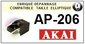 AKAI AP206 AP-206 <br>Pointe elliptique pour tourne-disques <(stylus)<small> 2015-11</small>