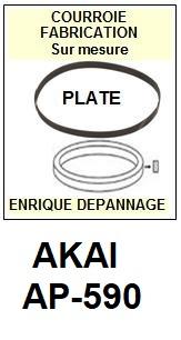 AKAI<br> AP590 AP-590 courroie (flat belt) pour tourne-disques <BR><small>sc 2015-04</small>