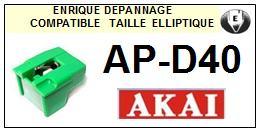 AKAI<br> APD40 AP-D40 Pointe (stylus) elliptique pour tourne-disques <BR><small>se 2015-05</small>