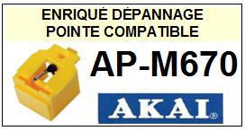 AKAI<br> APM670 AP-M670 Pointe sphérique pour tourne-disques <BR><small>sce+pos 2015-01</small>