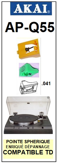 AKAI<br> APQ55 AP-Q55 Pointe (stylus) diamant sphérique <BR><small> 2015-10</small>