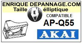 AKAI APQ55 AP-Q55 <BR>Pointe elliptique pour tourne-disques (<b>elleptical stylus</b>)<small> 2016-01</small>