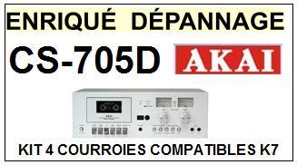 AKAI <br> CS705D CS-705D kit 4 Courroies (set belts) Platine K7 <br><small>a 2015-03</small>