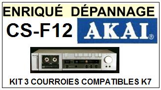 AKAI<br> CSF12 CS-F12 kit 3 Courroies (set belts) Platine K7 <br><small>a 2015-06</small>
