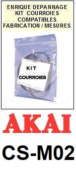 AKAI<br> CSM02 CS-M02 kit 3 courroies (set belts) pour platine K7 <br><small>a 2015-05</small>