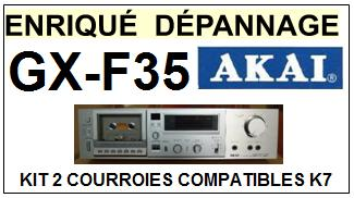 AKAI<br> GXF35 GX-F35 kit 2 courroies (set belts) pour platine K7 <br><small>a 2015-04</small>