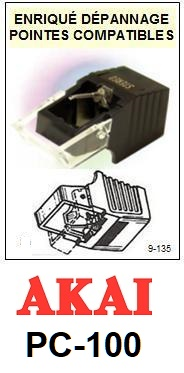 AKAI-PC100 PC-100-POINTES-DE-LECTURE-DIAMANTS-SAPHIRS-COMPATIBLES