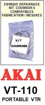 AKAI<br> VT110 VT-110 kit 4 Courroies (set belts) pour magnétoscope <br><small>a 2015-08</small>