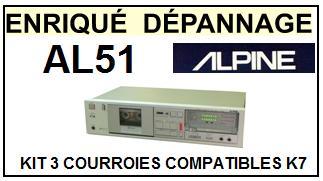 ALPINE  AL51  AL-51  kit 3 Courroies Compatibles Platine K7