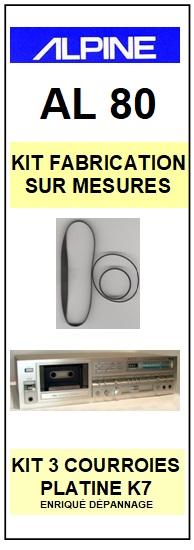 ALPINE<br> AL80 kit 3 courroies (set belts) pour platine K7 <br><small>a 2015-05</small>