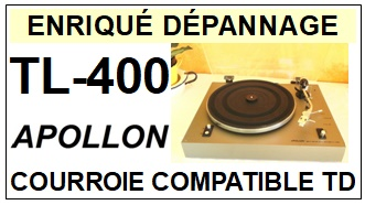 APOLLON TL400 TL-400 <br>Courroie plate d'entrainement tourne-disques (<b>flat belt</b>)<small> 2018 MARS</small>