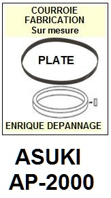 ASUKI<br> AP2000 AP-2000 Courroie (flat belt) pour tourne-disques <BR><small>sc 2015-06</small>