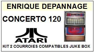 ATARI <br> CONCERTO 120 kit 2 Courroies (set belts) jukebox <BR><small>s-kit 2015-04</small>