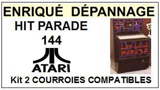ATARI HIT PARADE 144 A-103 kit 2 Courroies Juke box <BR><small>a 2014-07</small>