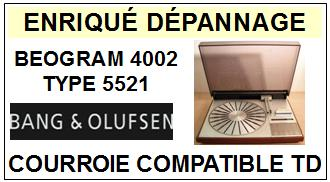 BANG OLUFSEN BEOGRAM 4002 TYPE 5521<br> Courroie d\'entrainement pour tourne-disques (flat belt)<small> 2015-11</small>