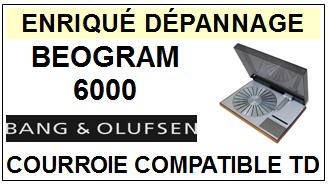 BANG OLUFSEN<br> BEOGRAM 6000 courroie pour tourne-disques <BR><small>c-tcde 2014-11</small>