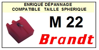 BRANDT M22  <br>Pointe diamant sphérique pour tourne-disques (stylus)<SMALL> 2015-12</SMALL>