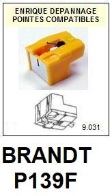 BRANDT P139F <br>Pointe diamant sphérique pour tourne-disques (stylus)<small> 2015-11</small>