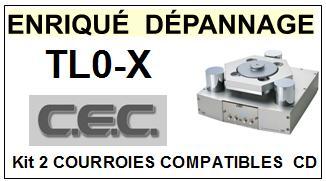 CEC TL0X TL0-X <BR>kit 2 Courroies pour platine cd (<b>set belts</b>) <small> 2016-01</small>