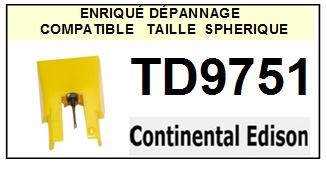 CONTINENTAL EDISON TD9751 <br>Pointe diamant sphérique pour tourne-disques (stylus)<SMALL> 2015-10</SMALL>