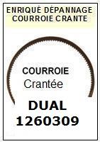 DUAL 1260309  <br>courroie dentée crantée référence dual (touth belt manufacturer number)<small> 2015-12</small>