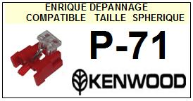 KENWOOD P71 P-71<br> Pointe diamant sphérique (stylus) <small> 2015-11</small>