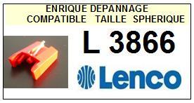 LENCO L3866  <br>Pointe diamant sphérique pour tourne-disques (stylus)<SMALL> 2015-11</SMALL>