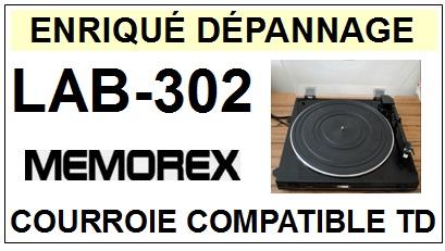 MEMOREX LAB302 LAB-302 <br>Courroie d\'entrainement pour tourne-disques (flat belt)<small> 2016-01</small>