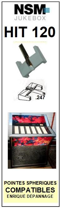 NSM HIT 120 <br> Pointe diamant sphérique pour jukebox (stylus)<small> 2015-11</small>
