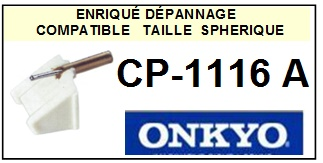 ONKYO CP1116A CP-1116A <br>Pointe sphérique pour tourne-disques (<B>sphérical stylus</b>)<SMALL> 2016-02</SMALL>